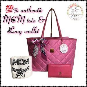 💯orig MCM tote pink and long wallet